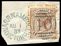 Lot 1939:10: 3rd duplex 'WARRNAMBOOL/AU1/83/VICTORIA' in blue on 2d sepia (toned perfs).  Allocated to Warrnambool-PO 1/1/1849.