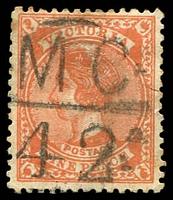 Lot 12712:1142: 'MC/42' on 9d red. [Rated S]  Allocated to Granya-Renamed from Bethanga PO 30/9/1879; closed 30/6/1993.