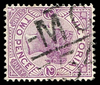 Lot 12717:1154: 'MC/54' on 2d violet. [Rated S]  Allocated to Marungi-PO 20/10/1879; closed 17/5/1971.