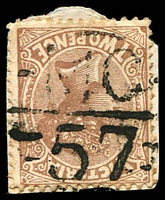 Lot 11020:1157: 'MC/57' on 2d sepia.  Allocated to Tawonga-PO 4/10/1879; LPO 15/3/1993.