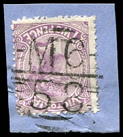 Lot 11021:1158: on 2d violet.  Allocated to Toonallook-PO 8/11/1879; renamed Paynesville PO 1/2/1886; LPO 25/2/1994.