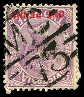 Lot 11029:1173: 'MC/73' on 'ONE PENNY' on 2d violet opt. [Rated R]  Allocated to Sedgwick-PO 1/3/1880; closed 23/9/1994.