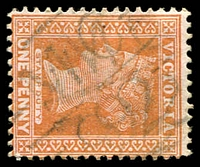 Lot 11039:1192: doubled 'MC/92' on 1d brown. [Rated S]  Allocated to Southern Cross-PO c.-/9/1880; closed 14/6/1969.