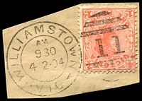 Lot 1941:11: 4th duplex 'WILLIAMSTOWN/AM/930/4.2.04/VIC - 11' (WWW #100A) on 1d pink.  Allocated to Williamstown-PO 1/3/1850; closed 24/8/1979.