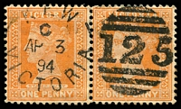 Lot 10468:125: second duplex - unframed 'KEW/C/AP3/94/VICTORIA - 125' on 1d brown pair.  Allocated to Kew-PO 6/10/1856.