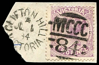 Lot 11124:1384: unframed duplex 'CLIFTON HILL/A/JL1/84/VICTORIA - MCCC/84' on 2d violet.  Allocated to Clifton Hill-PO c.-/12/1883; LPO 8/11/1993.