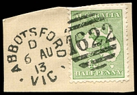 Lot 2191:1622: unframed duplex 'ABBOTSFORD/D/6AU/13/VIC - 1622' on ½d green Roo.  Allocated to Abbotsford-PO 9/1/1888; LPO 4/1/2000.