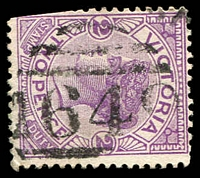 Lot 12376:1649: '1649' on 2d violet. [Rated S]  Allocated to Ondit Road-PO 16/7/1888; renamed Irrewarra PO 5/8/1889; closed 30/6/1973.