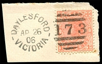 Lot 2004:173: unframed 2nd duplex 'DAYLESFORD/AP26/06/VICTORIA - 173' on 1d pink.  Allocated to Daylesford-PO 1/2/1858; LPO 1/5/1998.