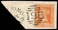 Lot 2008:198: unframed duplex '[M]ERINO/??16/??/[VICTO]RIA - 198' on 1d brown.  Allocated to Merino-PO 1/6/1858; LPO 4/11/1993.