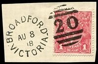 Lot 1946:20: unframed duplex 'BROADFORD/AU8/18/VICTORIA - 20' (WWW #30) on 1d red KGV.  Allocated to Broadford-PO 1/7/1852; LPO 29/6/1998.
