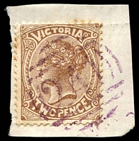 Lot 10558:241: in violet on 2d brown.  Allocated to Riddell's Creek-PO 1/2/1859; LPO 14/2/1994.