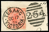 Lot 10570:254: framed duplex 'TERANG/OC17/04/VICTORIA - 254' on 1d pink.  Allocated to Terang-PO 1/3/1859; LPO 5/1/1999.