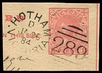 Lot 2034:289: 3rd duplex 'HOTHAM/D/JA26/84/VICTORIA - 289' on 1d Post Card piece. [Rated 2R]  Allocated to Hotham-PO 20/3/1860; renamed North Melbourne PO c.-/10/1887.