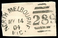 Lot 11726:289: unframed duplex 'NORTH MELBOURNE/MY14/04/VIC - 289' on piece.  Allocated to Hotham-PO 20/3/1860; renamed North Melbourne PO c.-/10/1887.