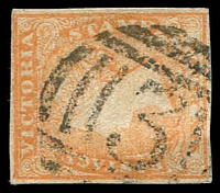 Lot 10388:3: Type A1 on 6d orange Woodblock Imperf.  Allocated to Castlemaine-Replaced Forrest Creek PO 1/1/1854.