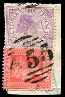 Lot 10679:455: '455' on 1d pink & 2d violet. [Rated SS]  Allocated to Winton-PO 1/1/1864; renamed Winton Rail PO c.1934.