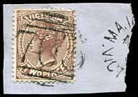 Lot 10778:703: '703' on 2d sepia tied by small part of unframed 'MAJO[R PLAINS]/M???/??/VICT[ORIA]' (B3 - Extremely Rare). [Rated R]  Allocated to Major Plains-PO 1/7/1870; renamed Devenish PO 20/8/1874; renamed Major Plains PO c.-/11/1878; closed 1/6/1898.