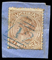 Lot 12467:712: right half of 1st duplex in blue on 2d sepia (toned perfs).  Allocated to Nagambie-PO 2/5/1870; LPO 4/1/1995.