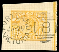 Lot 1937:8: unframed duplex 'PORTLAND/?/JA-20/97/VICTORIA - 8' on ½d yellow wrapper piece.  Allocated to Portland-PO 4/12/1841.