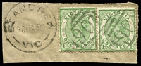 Lot 1976:90: 2 strikes on 1d green Bell x2, 'ST ANDREW/?0DE2?/VIC' (B2) alongside. [Rated R]  Allocated to St. Andrew-PO 1/1/1856; renamed St. Andrews PO c.-/6/1923.