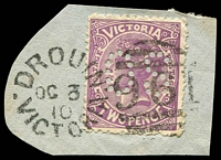 Lot 2101:961: unframed duplex 'DROUIN/OC3/10/VICTORIA - 961' on 2d violet perf 'OS'.  Allocated to Drouin Junction-PO 1/1/1877; renamed Drouin PO c.-/7/1878; LPO 1/12/1998.