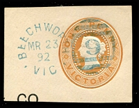 Lot 1938:9: blue 5th duplex unframed 'BEECHWORTH/MR23/92/VIC - 9' on 1d QV cut-out piece.  Allocated to Beechworth-Renamed from Spring Creek PO 1/1/1854.