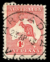 Lot 2220:Arcadia (2): WWW #20, 'ARCADIA/23AP13/VIC' on 1d Roo.  Renamed from Arcadia R.S. PO c.1902; closed 30/4/1993.
