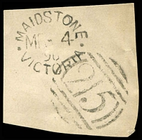 Lot 2576:Maidstone (1): WWW #10 oval 'MAIDSTONE/MR-4/9?/VICTORIA' tied by BN '215' (A1-) on piece. [Late use of an 1860s oval datestamp.]  PO 1/10/1858; closed c.1919.