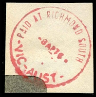 Lot 14904:Richmond South: - WWW #260B 'PAID AT RICHMOND SOUTH     /8AP76/VIC-AUST' ('E1' removed) in red.  RH 2/10/1871; PO c.1903; closed 6/1/2017.