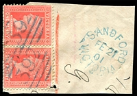 Lot 14978:Sandford: - WWW #10 unframed 'SANDFORD/FE21/01/VICTORIA' in blue tied alongside 1d pink pair cancelled with 2 strikes of BN '392' (A2).  PO 12/5/1862; closed 31/8/1978.