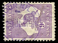 Lot 16421:Seymour Military Camp (2): - WWW #10, '[SEYM]OUR MIL CAMP/29JL15/VIC' (ERD) in violet on 9d Roo. [Rated 2P]  PO c.-/7/1915; closed 1/5/1918.