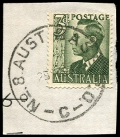 Lot 5599:1953 'NO.8.AUST BASE P.O./25SE53/C' on 3d green KGVI.