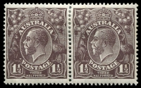 Lot 2302:1½d Black-Brown Die I - [1R13-14] pair, unit 13 with White flaw above roo's foot