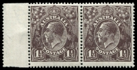 Lot 724:1½d Black-Brown Die I - BW #84(1)l [1R37-38] pair, unit 38 with Retouched right frame, Cat $40, light tone spots on back.