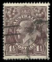 Lot 1103:1½d Black-Brown Die I - BW #83(1)f [1L20] White flaws between right of kangaroo's head and A and left of large 1 in left value tablet, Cat $40.