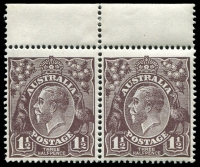 Lot 1106:1½d Black-Brown Die I - [2L1-2] pair, unit 1 with Notch in lower frame and flaw in upper left frame & unit 2 with Shallow notch in upper frame near left corner, hinged in margin and unit 2.