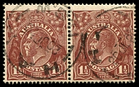 Lot 1233:1½d Brown Die I - [9L49-50] pair, unit 50 with Left frame damaged at top and bottom.