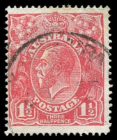 Lot 1920:1½d Red Die I - BW #89(29)oa [29R50] Cracked electro in left side of crown - state II - additional scratch through upper right corner, Cat $140, few lightly toned perfs. [An unrecorded second scratch developing in upper right corner - late state?]