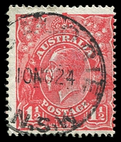 Lot 1820:1½d Red Die I - [18R6] Break in coloured oval above LI of ALIA - ACCC State II - white dot above King's head.