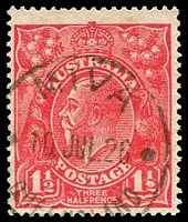 Lot 1795:1½d Red Die I - BW #89(22)m [22L45] Coloured flaw right of wattles and defective fraction in right value tablet, Cat $25, cancelled with 'MIVA/10JUL26/QUEENSLAN