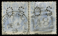 Lot 692:4d Blue Cooke Plates - BW #112(2)vd [2L47-48] pair, unit 48 with White flaw on right frame opposite top of value shield, Cat $90, cancelled with framed duplex 'PUBLIC OFFICES/DE4/23/M[ELBOU]R