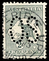 Lot 743:2d Grey - BW #5(1)d [1L6] Retouched bottom frame at right and flaw in Gulf of Carpentaria, perf Large 'OS', Cat $80, cancelled with '[P]T PIRIE UP/18OC15/[ST]H AUSTR' (A2- Rated 3R). [Flaw in Gulf of Carpentaria appears to be missing, early state?]  PO c.1881; closed c.1927.