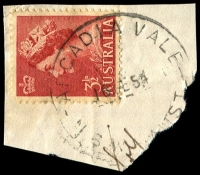Lot 6166:Arcadia Vale: - 'ARCADIA VALE/16FE54/N.S.W-AUST' on 3½d red QEII.  Renamed from Kirkdale TO 1/1/1948; PO 2/5/1949; closed 31/1/1975.