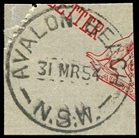 Lot 733:Avalon Beach: - 'AVALON BEACH/31MR54/N.S.W.' on piece.  PO 15/5/1933.