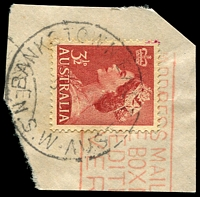 Lot 5665:Bankstown East: - 'BANKSTOWN EAST/3???53/N.S.W-AUST' on 3½d red QEII, partly o/struck with machine cancel.  PO 1/8/1946; renamed Greenacre PO 1/9/1956.