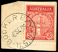 Lot 760:Booker Bay: - 'BOOKER BAY/6SE35/N.S.W.' on 2d ANZAC.  RO 15/11/1920; PO 6/4/1923; closed 7/1/1974.