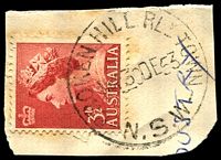 Lot 770:Broken Hill Railway Town: - 'BROKEN HILL RLY TOWN/115P30DE53/N.S.W' on 3½d red QEII.  Renamed from Broken Hill R.S. PO 1/3/1905; closed 30/1/1987.
