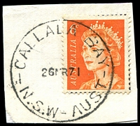 Lot 779:Callala Bay (1): - 'CALLALA BAY/26MR71/N.S.W-AUST' on 6c orange QEII.  TO 21/11/1955; PO 1/5/1956; closed 31/10/1978.