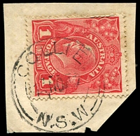Lot 5833:Collie: - 'COLLIE/1?NO17/=N.S.W=' on 1d red LGV.  PO 1/10/1862; closed 3/11/1986.